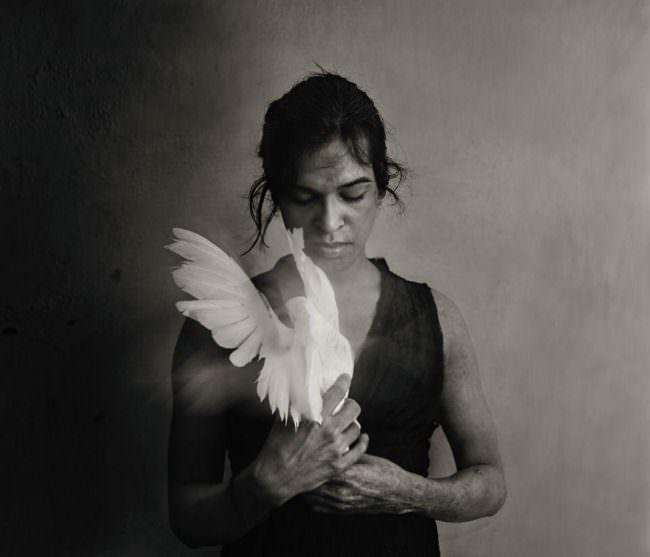 Person mit Vogel auf dem Arm