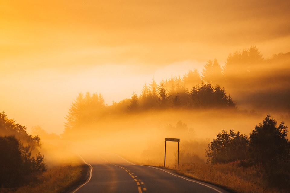 Neblige Straße im Sonnenuntergang