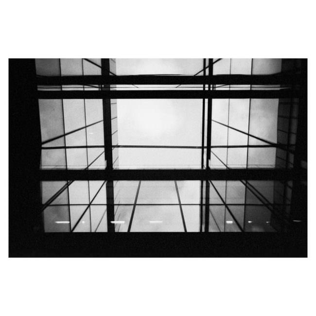 Blick nach oben durch ein Glasdach