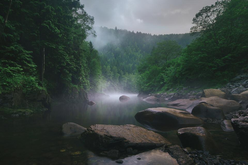 Nebel über einem Gewässer