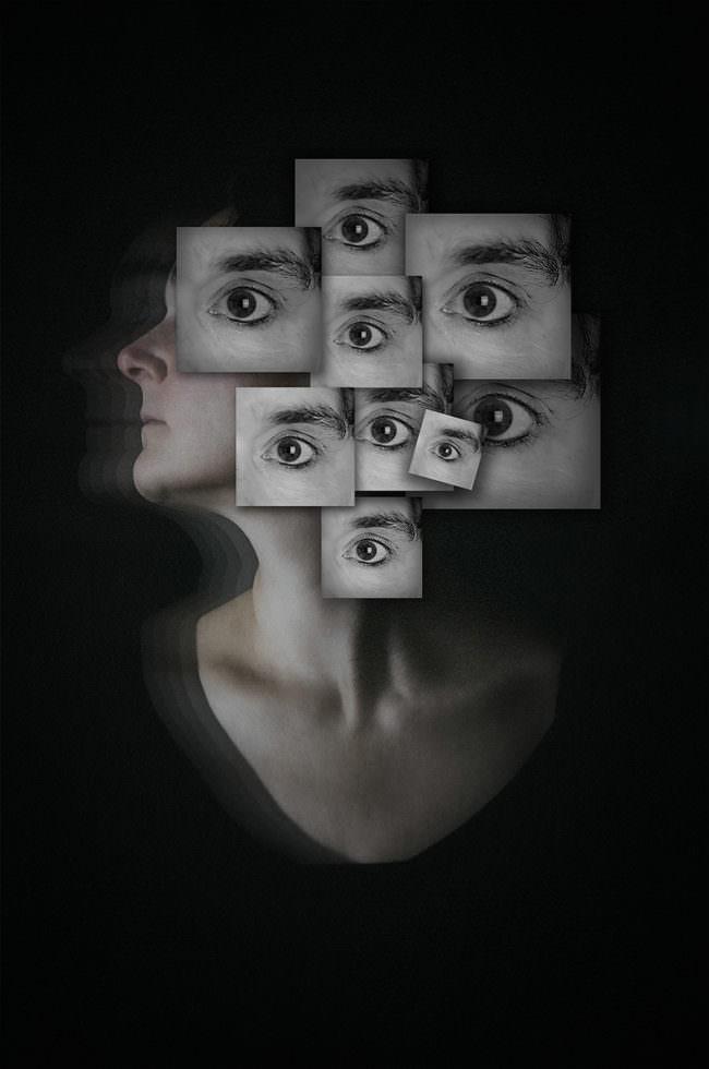 Frauenportrait mit vielen Augen