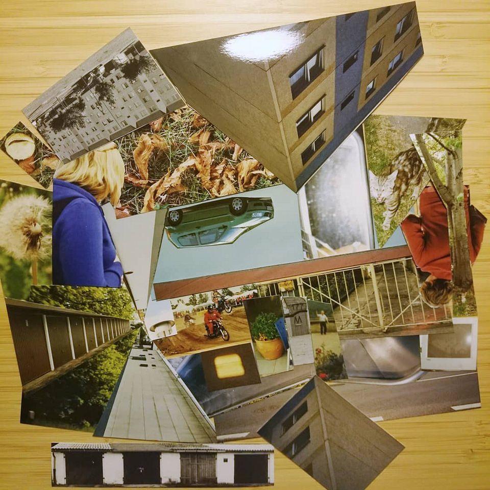 Collage aus Gebäuden und Personen
