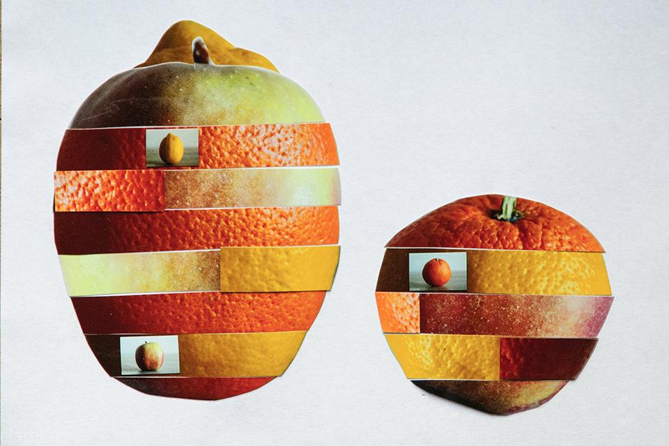Streifencollage von Obst