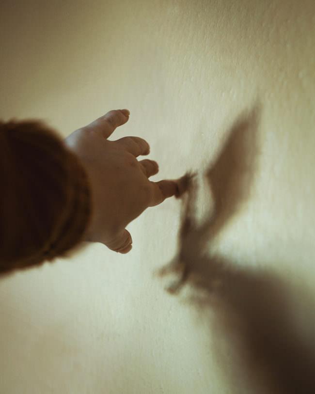 Eine Hand formt einen Schattendrachen