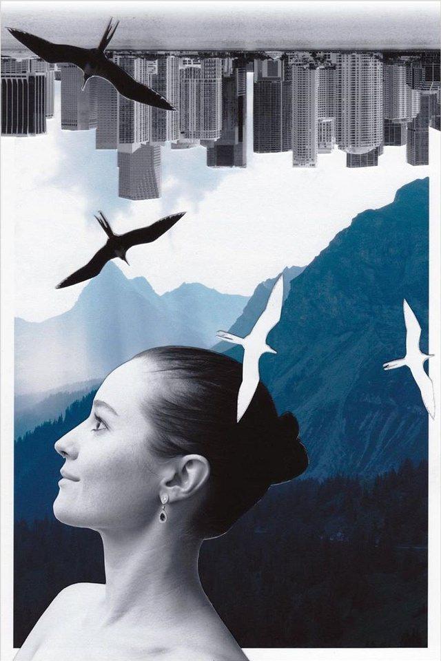 Collage mit Portrait, Vögeln, Bergen, Skyline