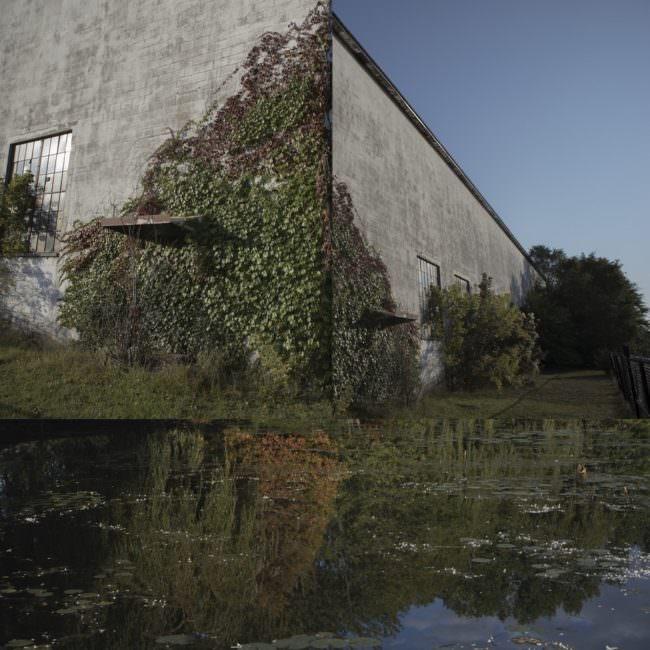 Collage mit Gebäude und Tümpel