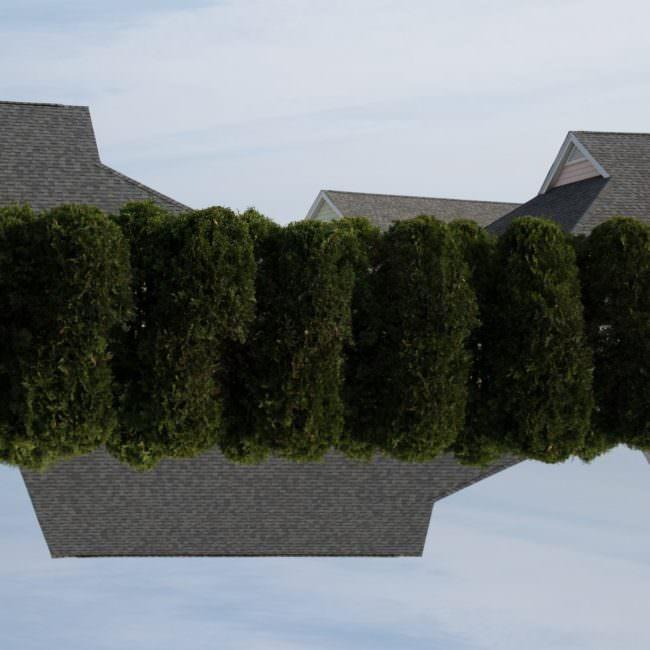 Collage mit Hecken und Hausdächern