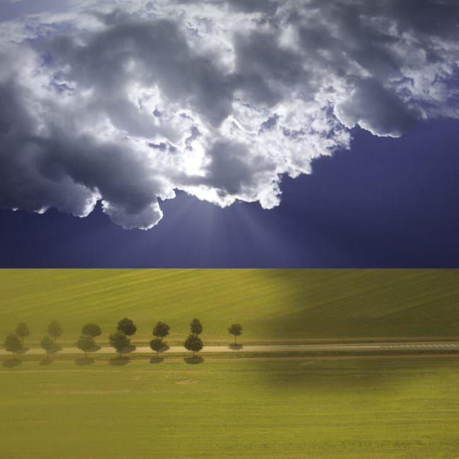 Collage mit Landschaft und Himmel