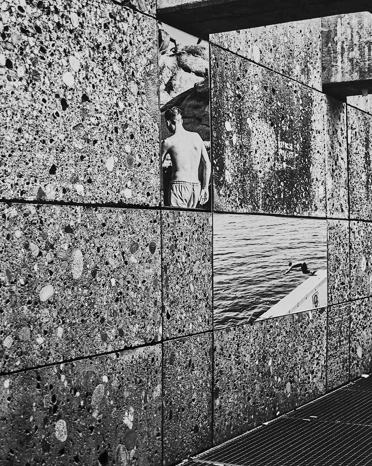 Collage mit Bildern auf Asphalt in schwarzweiß