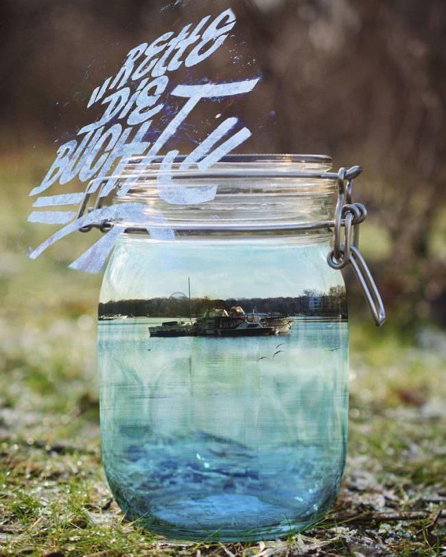 Collage mit Wasserglas