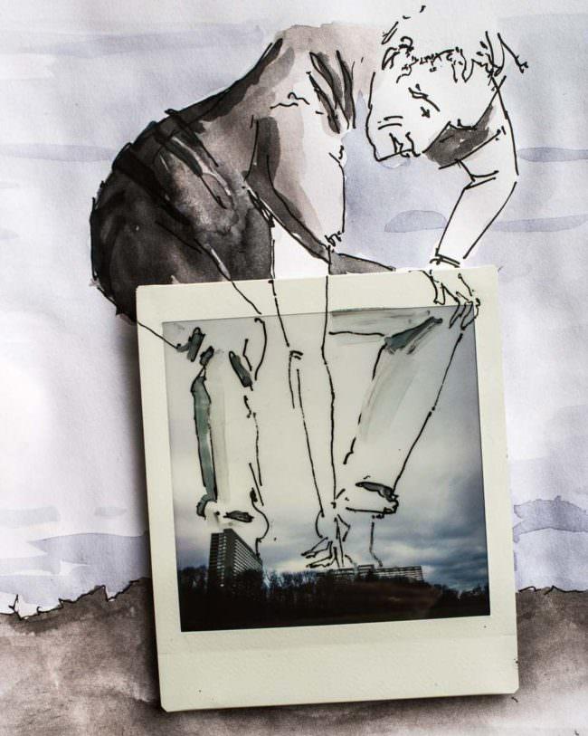 Polaroid mit Zeichnung