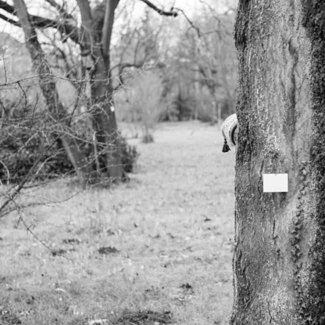 Kind versteckt sich hinter einem Baum
