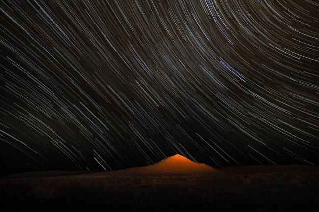 Langzeitbelichtung des Sternenhimmels