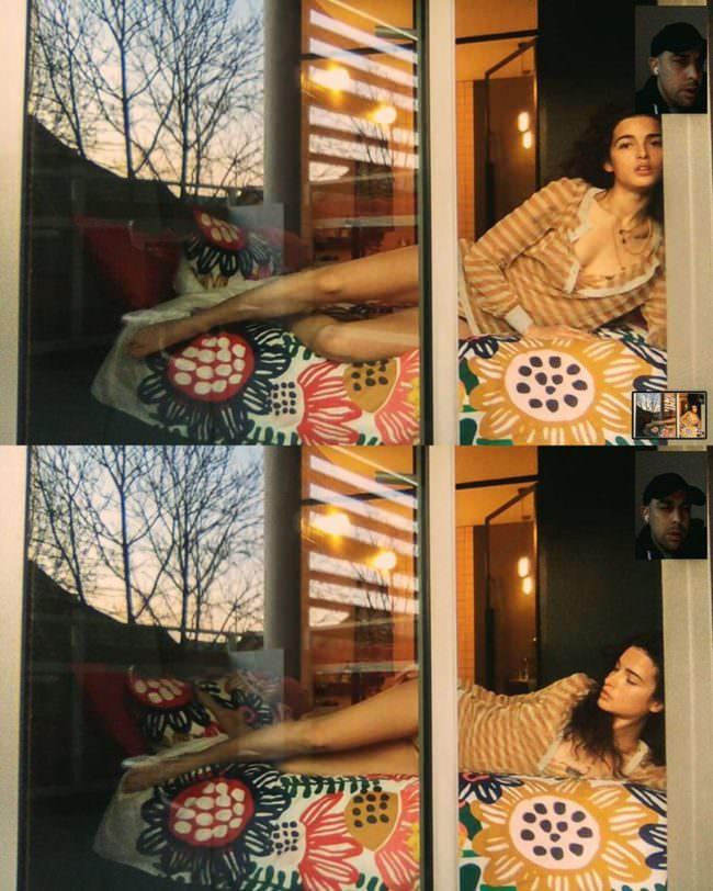Frau liegt auf einem Bett