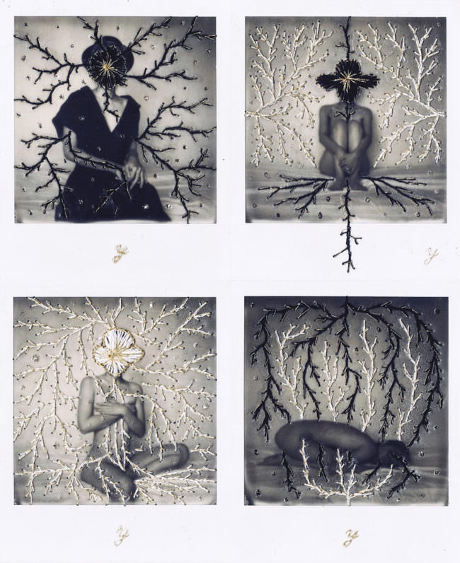 Polaroids mit schwarzen Fäden bestickt