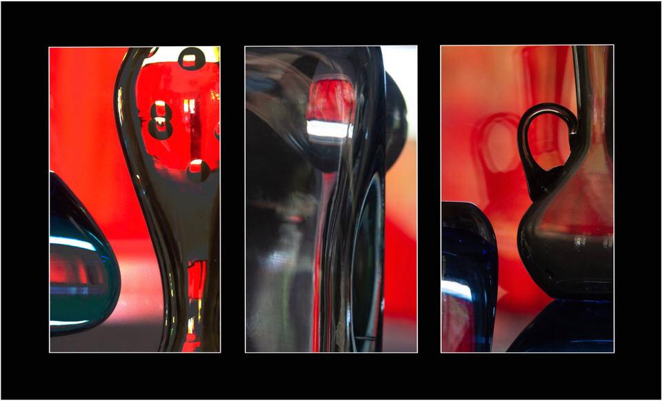 Triptychon aus roten verschwommenen Bildelementen