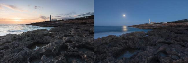 Zwei Fotos von Leuchttürmen am Strand