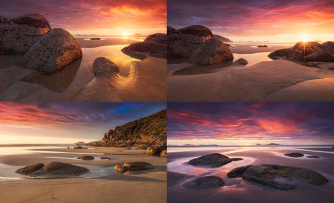 Vier Fotos von Steinen am Meer im Sonnenuntergang