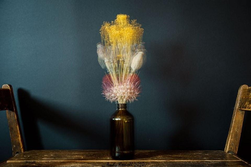 Mehrfachbelichtung mit Blumenstrauß