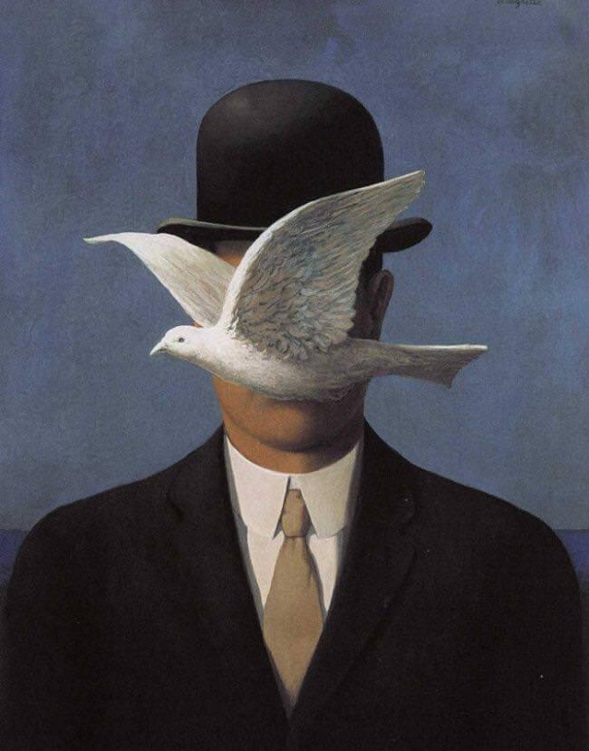 Mann mit Hut und Taube vor dem Gesicht