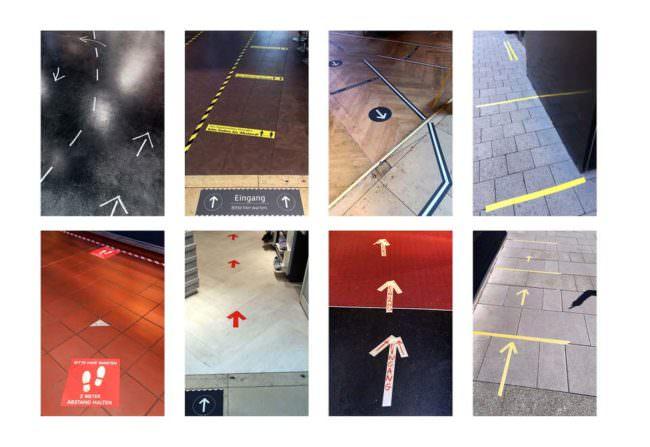 Collage aus Bildern mit Pfeilen aus Klebeband