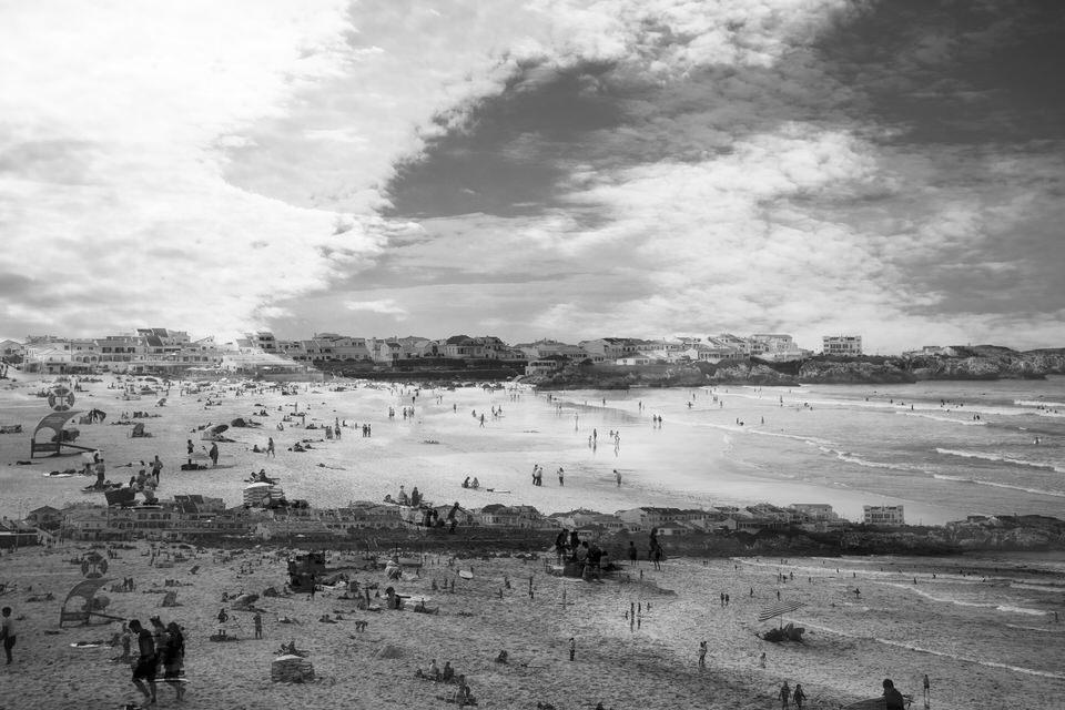 Doppelbelichtung Strand und Häuser