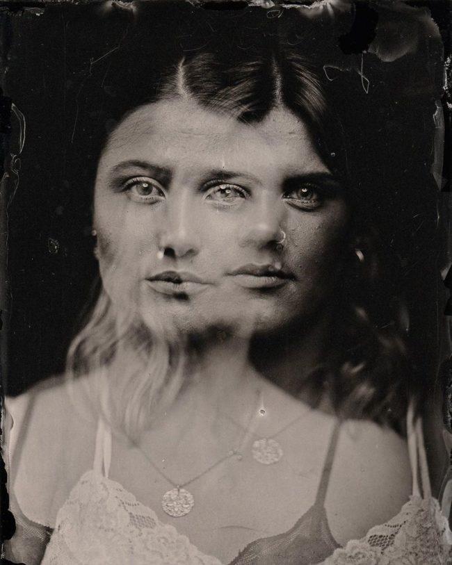 Doppelbelichtung eines Portraits