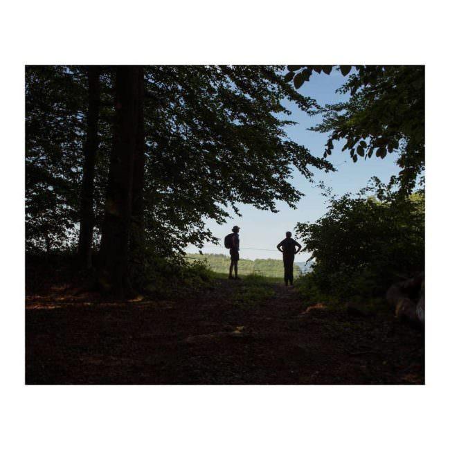 Zwei Wanderer im Wald