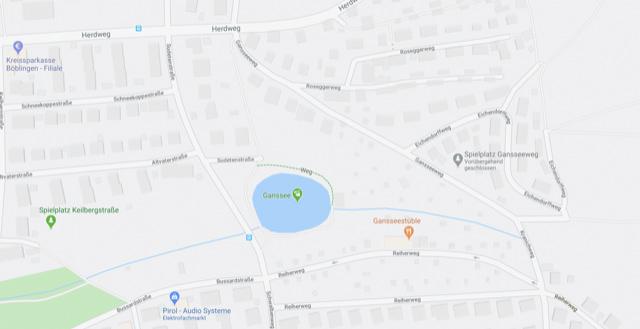 Ein Kartenausschnitt zeigt einen See, Straßen und Häuser