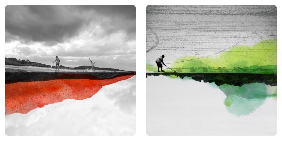 Personen in surrealen Landschaften übermalt mit bunten Farbflecken