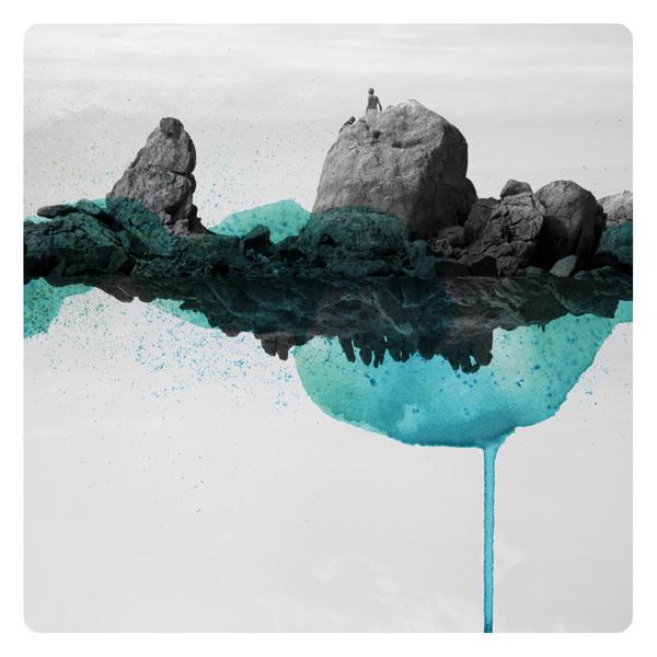 surreale Landschaft übermalt mit blauen Farbflecken