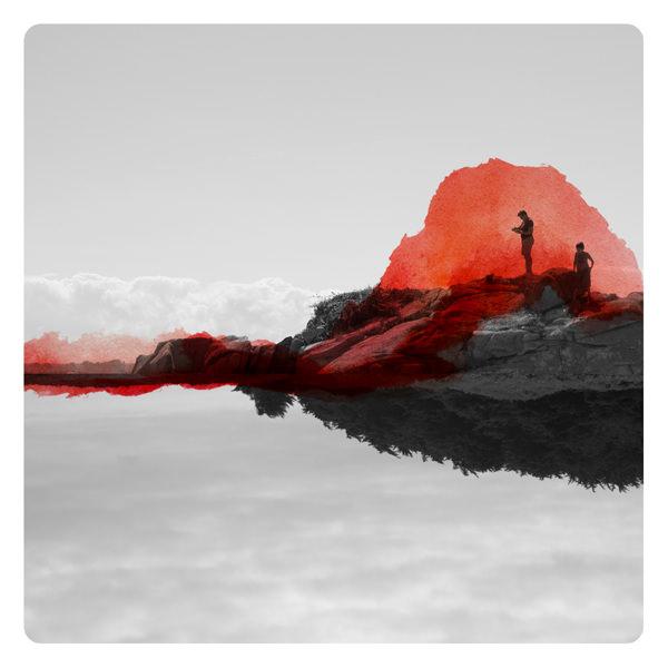 Person in einer surrealen Landschaft übermalt mit roten Farbflecken