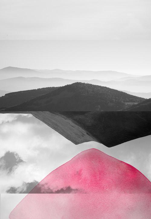 surreale Landschaft übermalt mit rosa Farbflecken