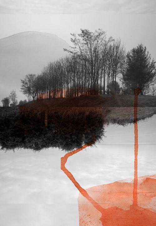 surreale Landschaft übermalt mit orangen Farbflecken