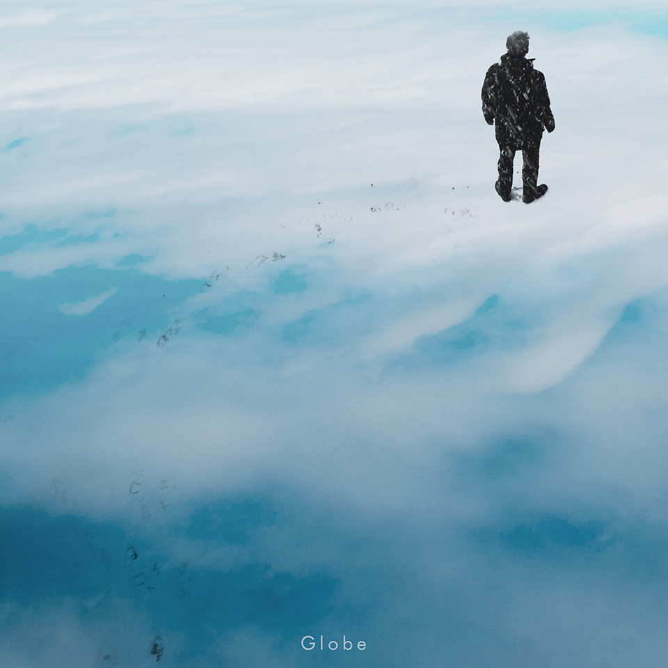 Collage einer Person, die auf Wolken läuft