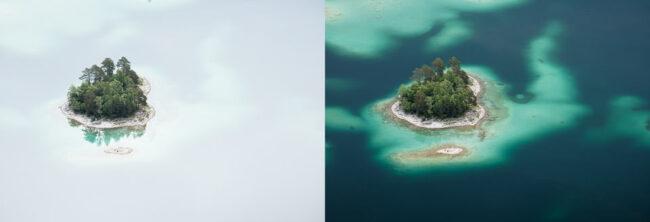 Zwei Bilder im Vergleich nebeneinander. Jeweils eine Insel in blau aussehendem Wasser und einmal im weiß wirkenden Wasser