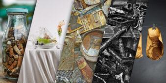 Collage aus verschiedenen Aufnahmen von Müll