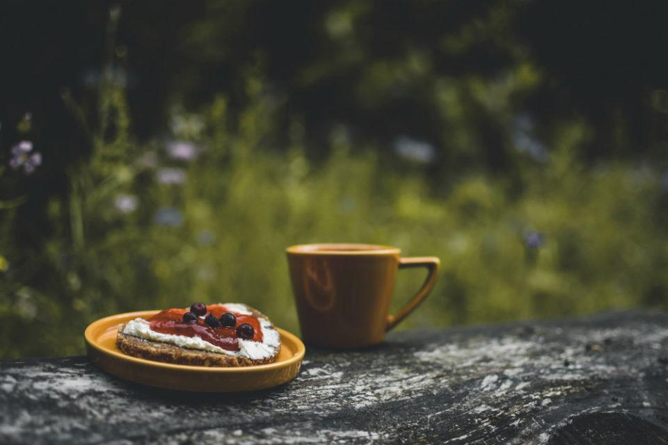 Tasse und Teller mit einem Brot stehen auf einem Baumstamm im Grünen