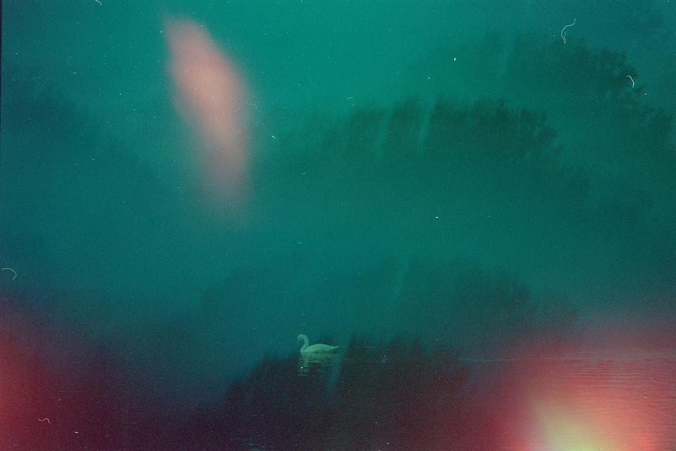 surreale Landschaft mehrfachbelichtet mit Lichtflecken