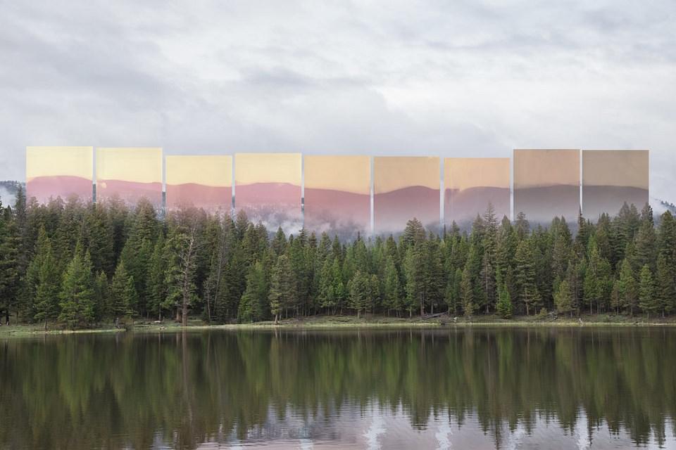 Landschaft mit abstrakten Farbflächen