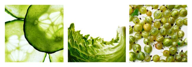 grünes Triptychon: Gurke, Salat, Beeren