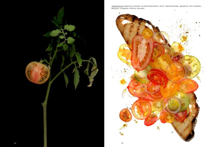 Buchdoppelseite mit Tomatenpflanze und Brot mit Tomatenscheiben