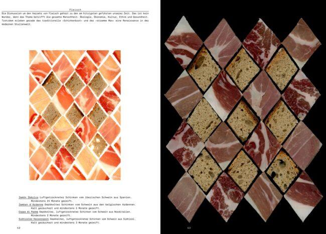 Buchdoppelseite mit Texten und Mustern gelegt aus Wurst und Brot