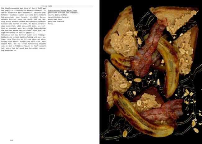 Buchdoppelseite mit Text und gescannten Lebensmitteln