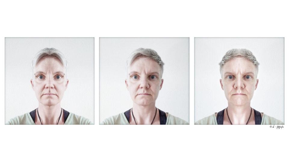 Drei Portraits mit gespiegeltem Gesicht