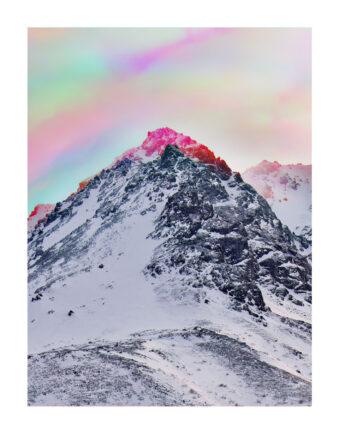 Winterlandschaft mit Regenbogenfarben