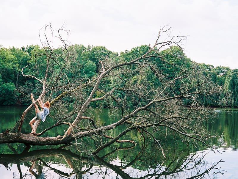 Ein Baum liegt über eines See. Eine Person turnt in den Ästen