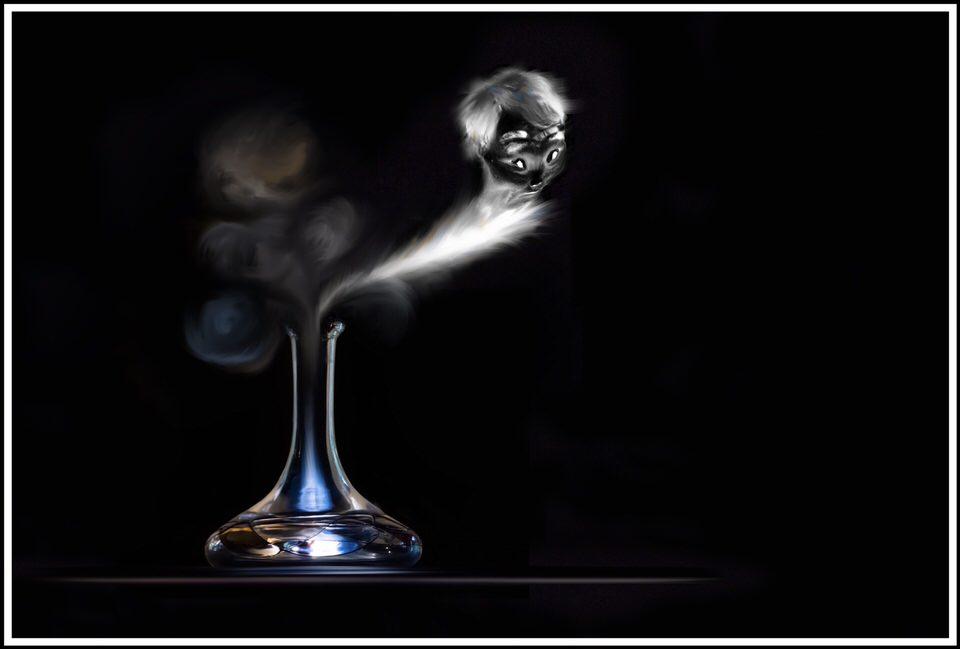 Ein Geist kommt aus einer Flasche