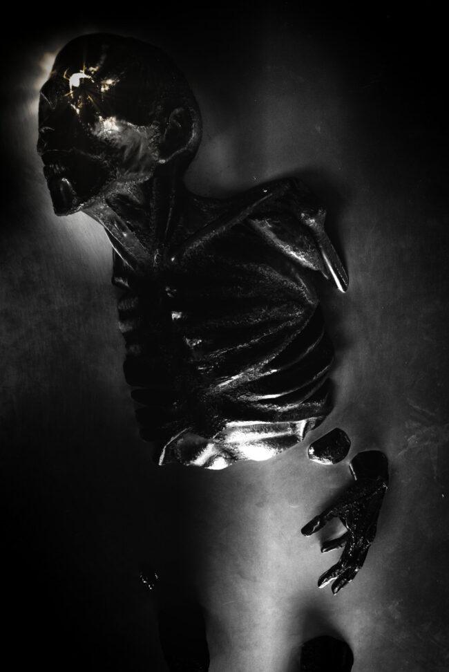 Skelett in schwarzweiß