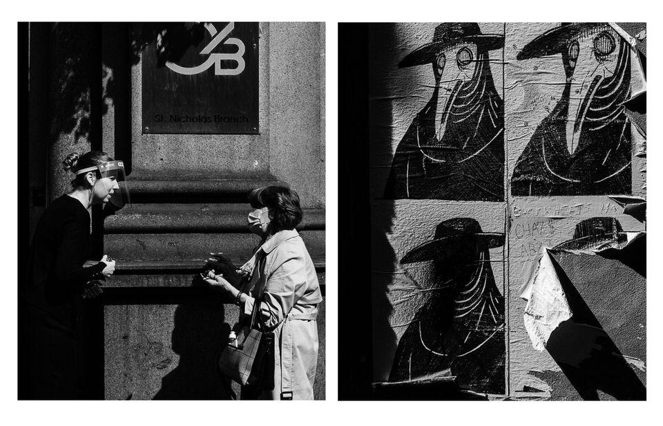 Diptychon: Zwei Personen mit Maske und Plakate mit Pestmasken